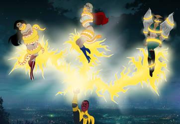 Wonder Woman, Power girl, Hawkgirl and Sinestro by SerisaBibi