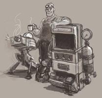 sketchdump 17 - boss engineer by KGBigelow