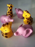 Fondant Giraffes and Elephants by eckabeck