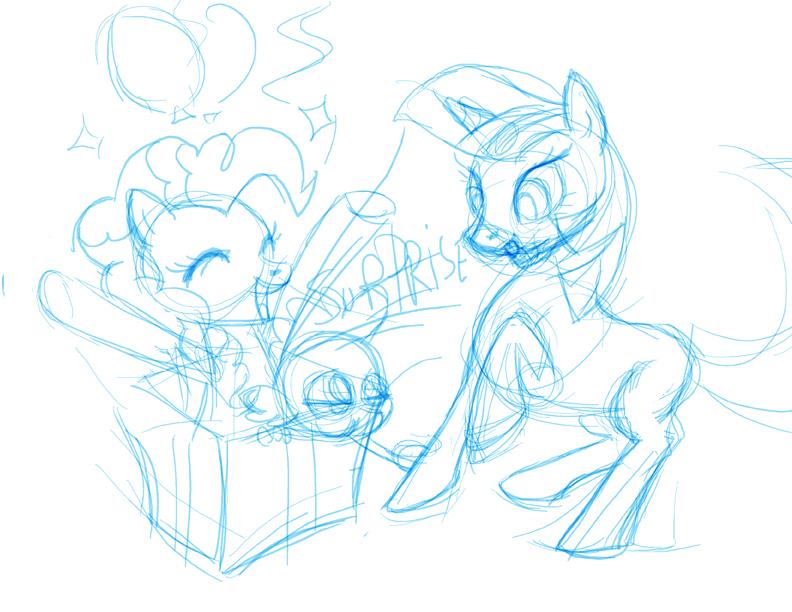 Pinkie_Twilight_sketch by AcexKeikai