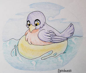 Robin on a floaty by synnibear03