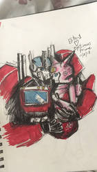 Optimus and Elita by TheHiddenPredacon