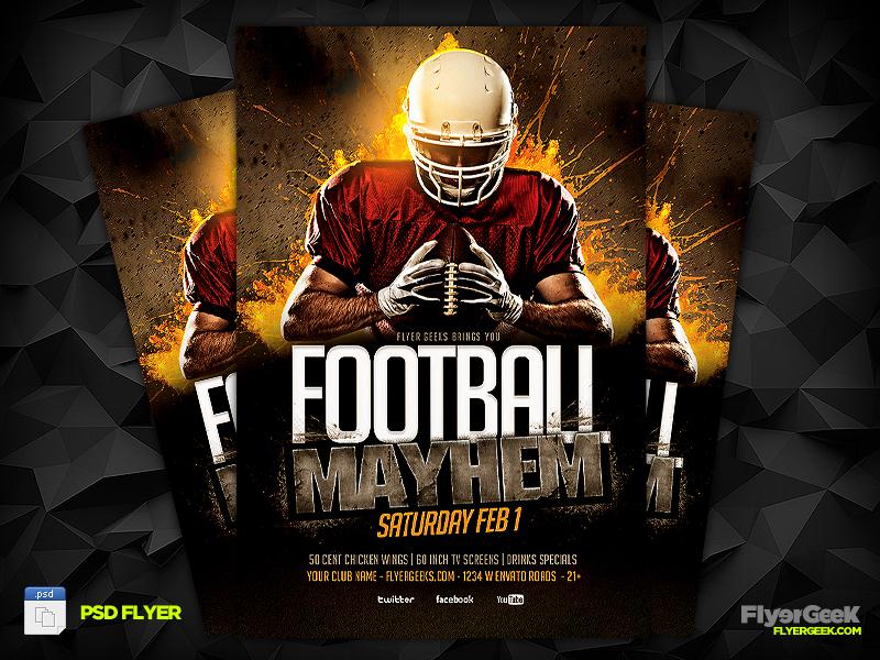 Super Bowl FOOTBALL Flyer Template PSD by FlyerGeek on DeviantArt