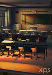 classroom in the evening