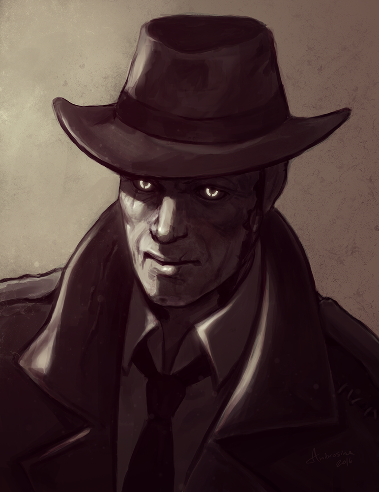 Nick Valentine portrait by UnderNeonLights