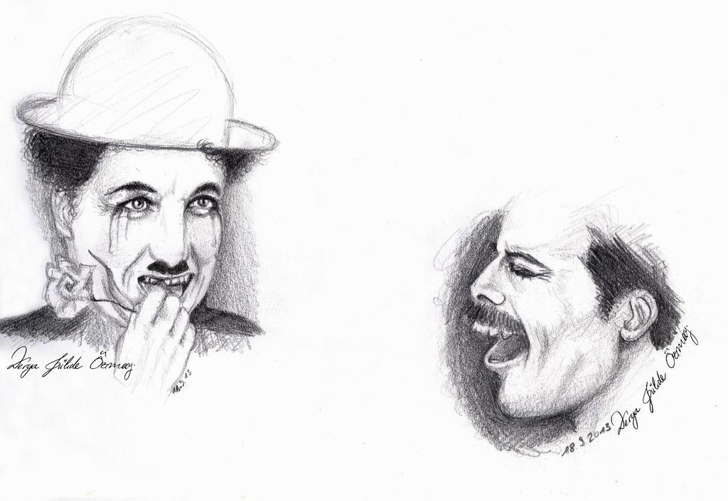 Charlie Chaplin and Freddie Mercury by DeryaJuelide
