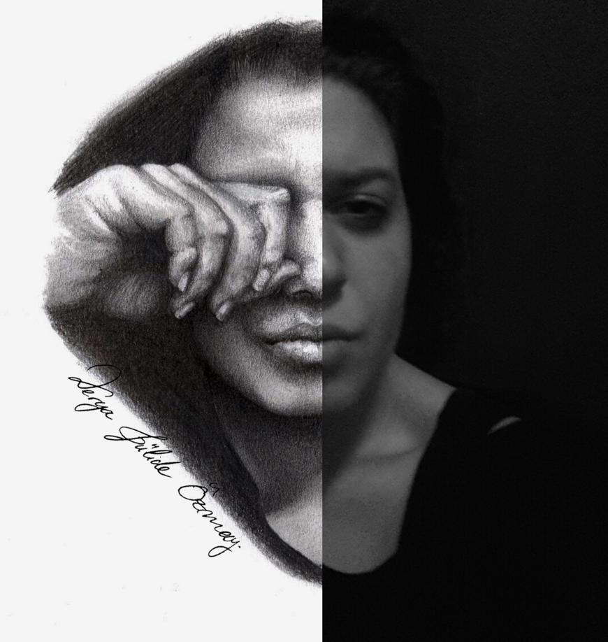 half selfportrait by DeryaJuelide