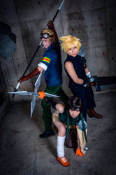 Me as Yuffie with Cloud and Cid from FFVII by mayuyu0405