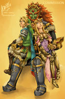 [COMMISSION] Link, Zelda and Ganondorf cuddle by Edo--sama