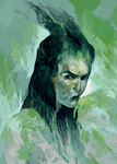 lady with horns )green(