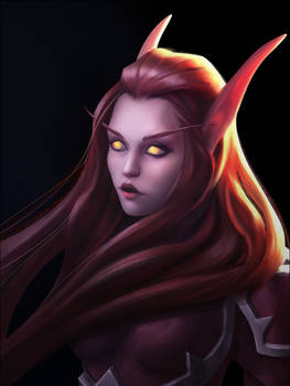 Warcraft blood elf girl fanart portrait