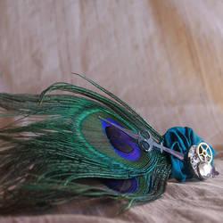 The Clockwork Peacock Hairpin by RagDolliesMadhouse