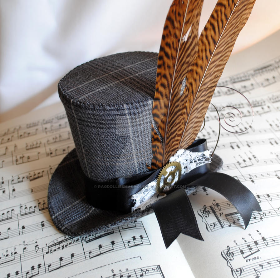 Plaid Steampunk Mini Top Hat by RagDolliesMadhouse
