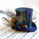 Victorian Mini Top Hat with Peacock Feathers