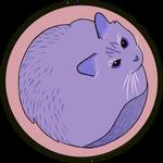 Round purple cat