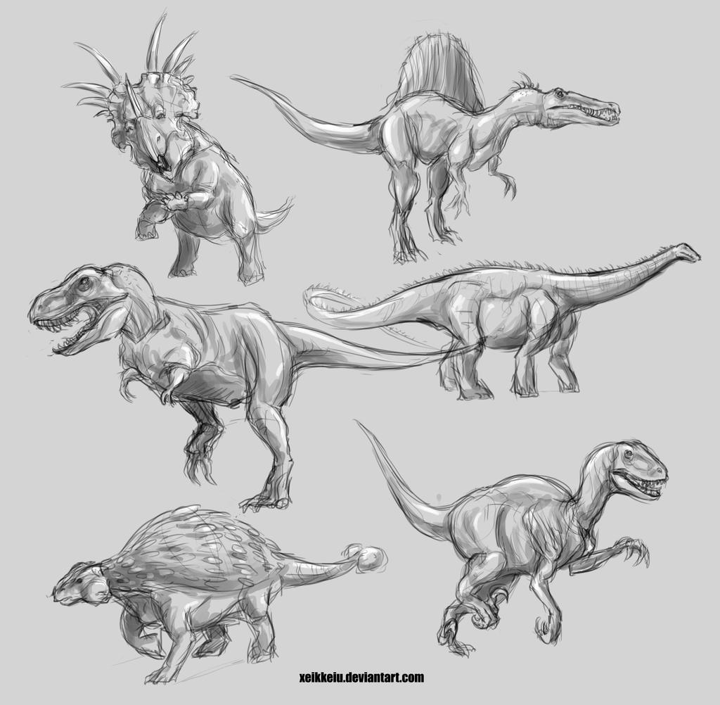 Uncategorized Sketches Of Dinosaurs some dinosaur sketches by charlottabavholm on deviantart charlottabavholm
