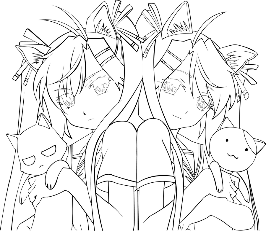 anime sisters coloring pages - photo#18