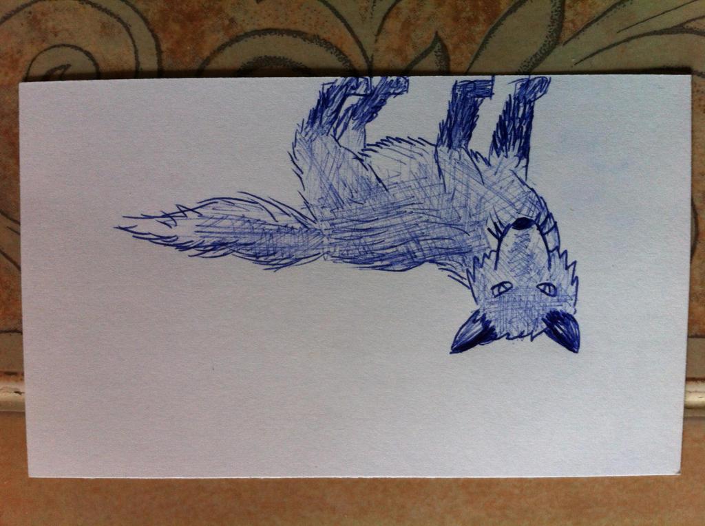 Blue Red Fox doodle by KonekoKaburagi