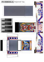 Evel Knievel pinball machine papercraft template by WeirdFantasticToys