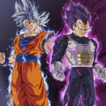 Goku Ultra Instinto Y Vegeta Hakai