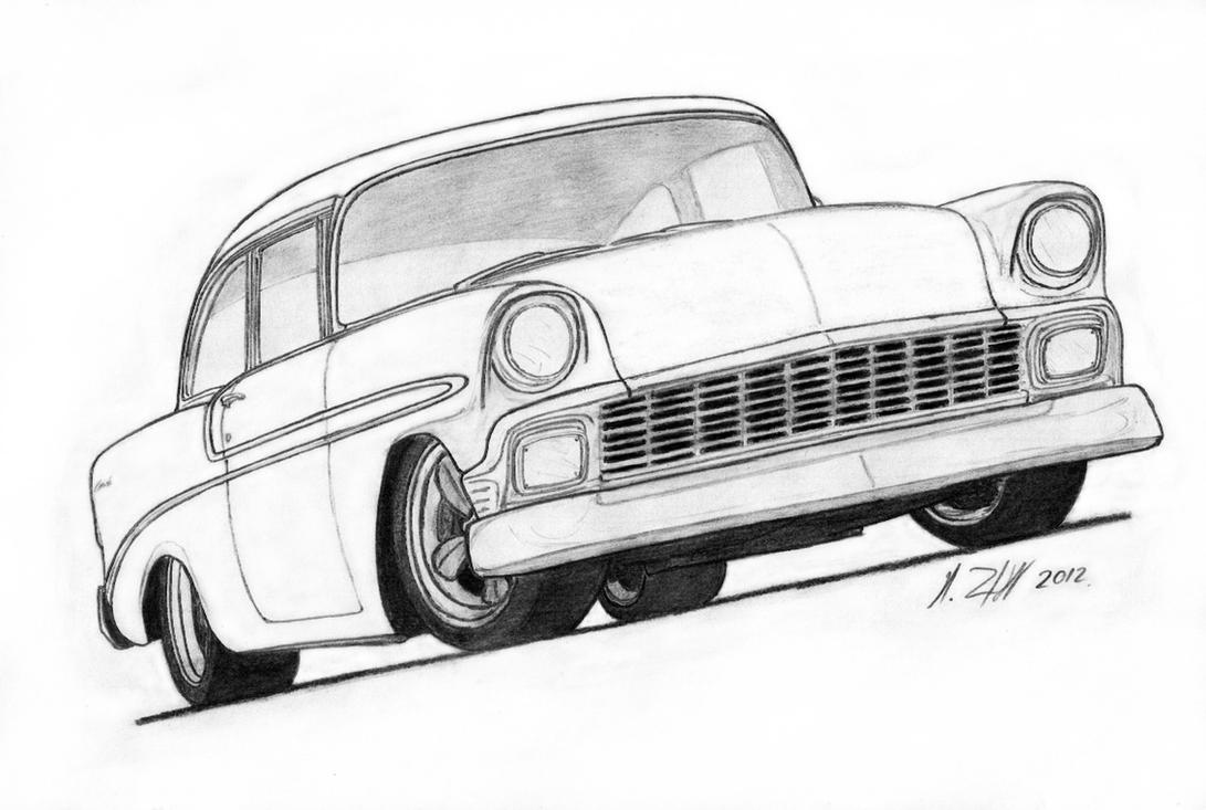 1956 bel air for sale submited images - 1956 Chevrolet Bel Air Pro Touring Drawing By Vertualissimo