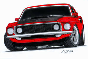 1969 Ford Mustang Boss 520 Pro Touring Drawing by Vertualissimo