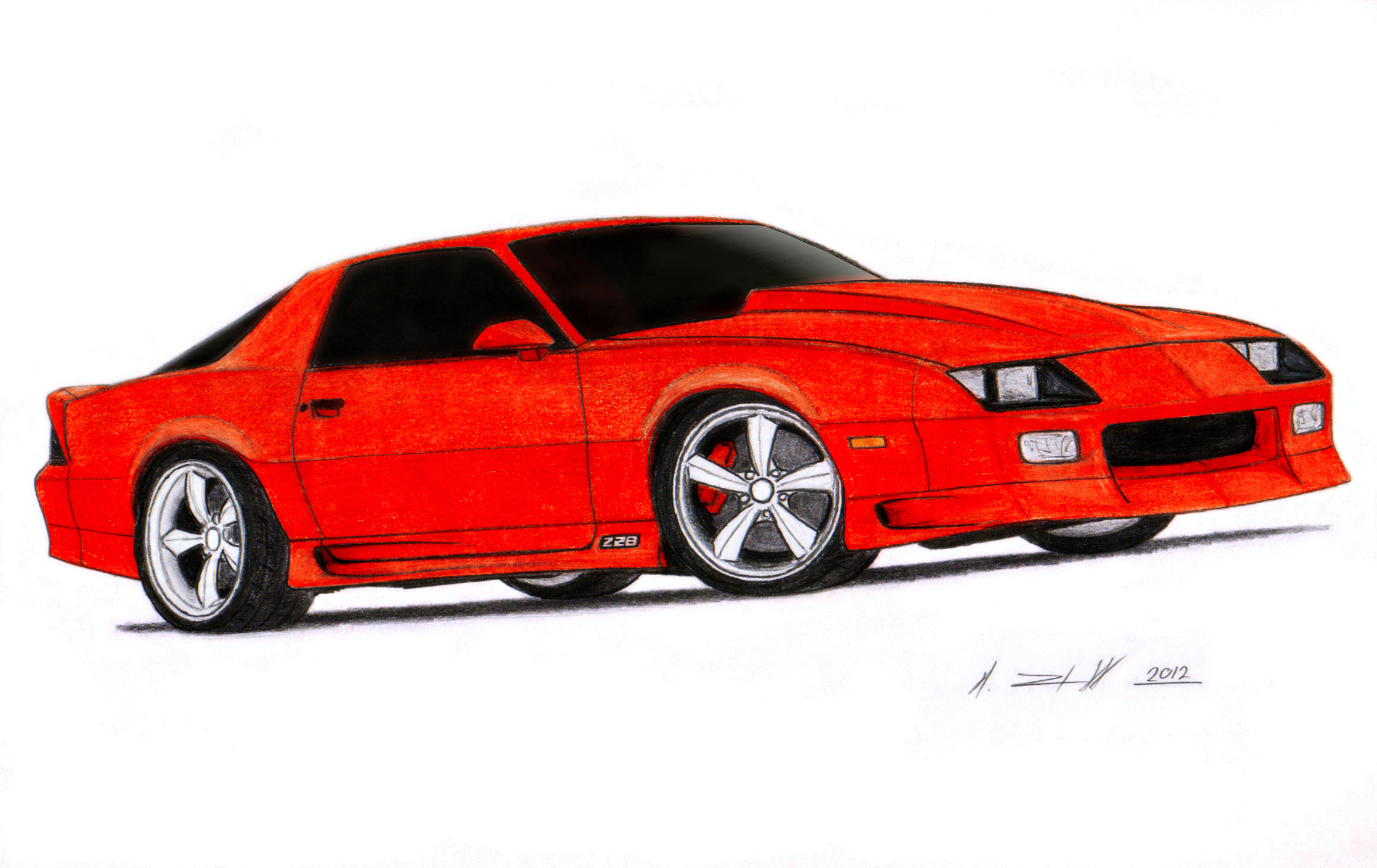 Chevrolet Camaro Iroc Z Drawing By Vertualissimo On