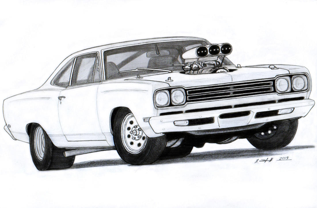 1969 Plymouth Roadrunner Drawing By Vertualissimo On