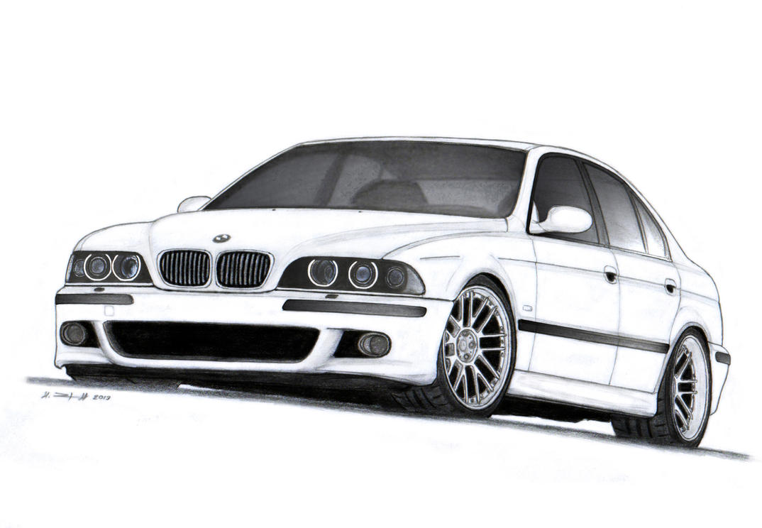 BMW M5 E39 Drawing by Vertualissimo