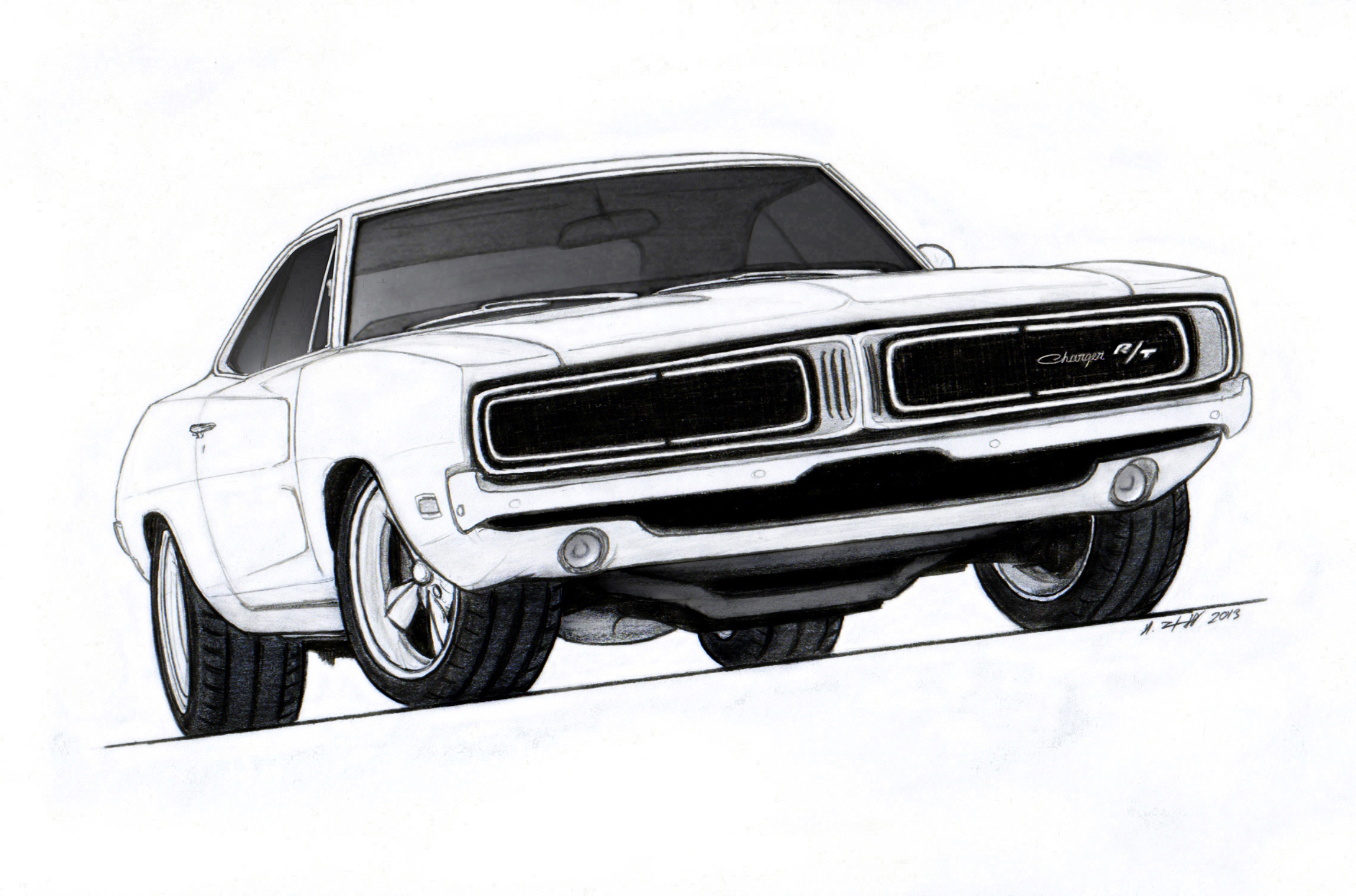 1969 Dodge Charger R T Pro Touring Drawing By
