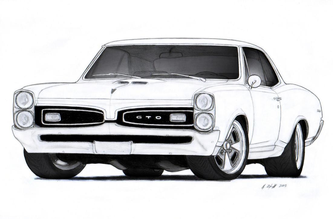 1967 Pontiac GTO Drawing by Vertualissimo