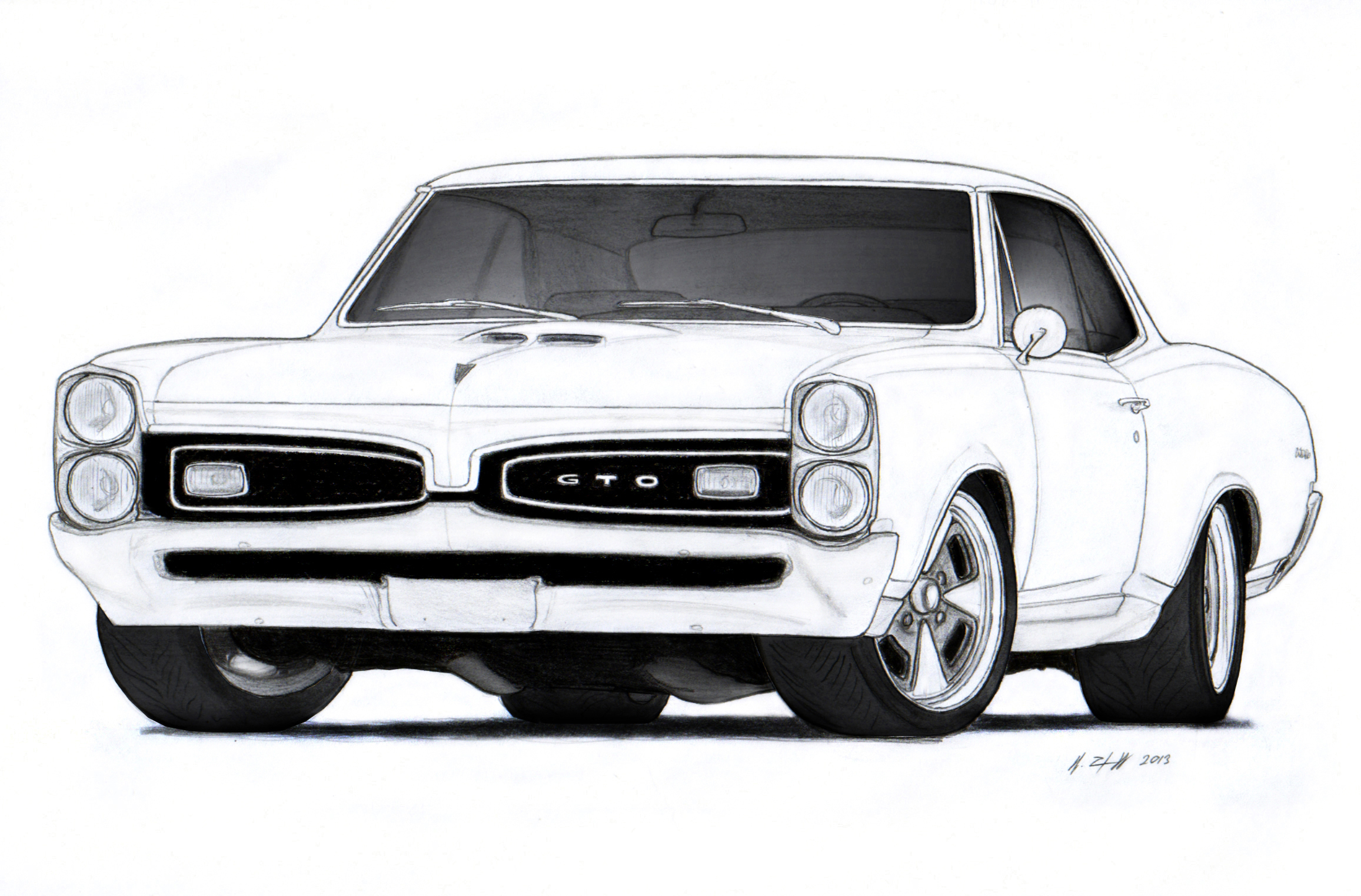 1967 Pontiac GTO Drawing by Vertualissimo