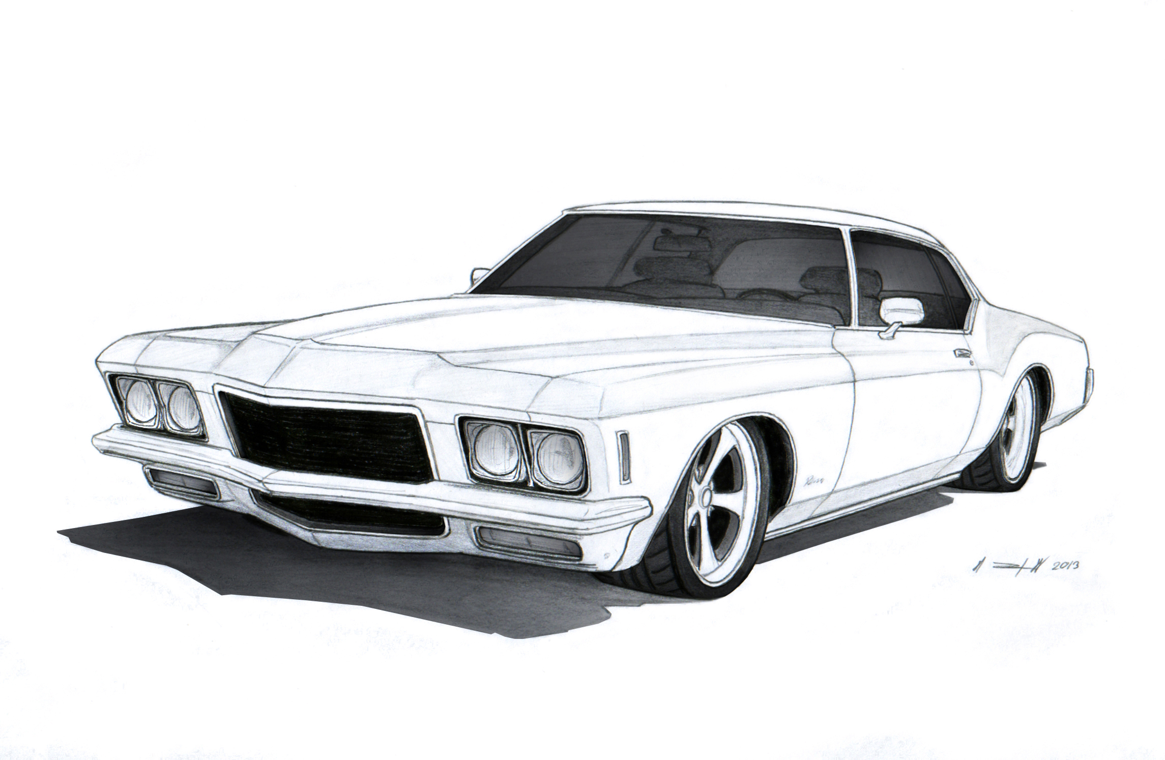 1971 Buick Riviera Custom Drawing By Vertualissimo On