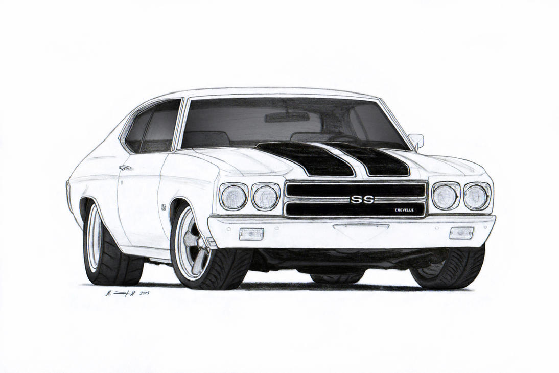 1970 Chevrolet Chevelle SS Pro Touring Drawing by Vertualissimo