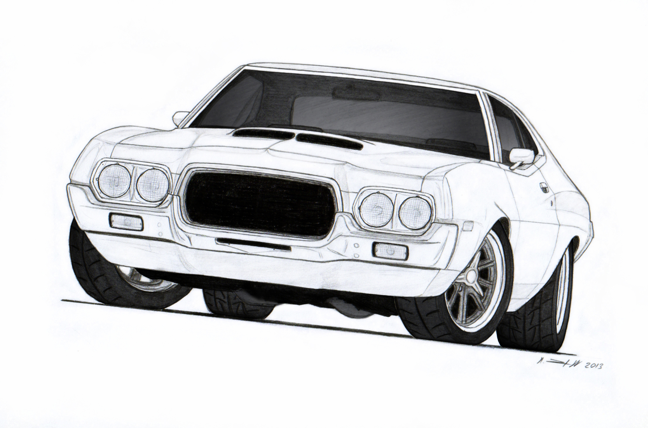 1972 Ford Torino Drawing By Vertualissimo On Deviantart