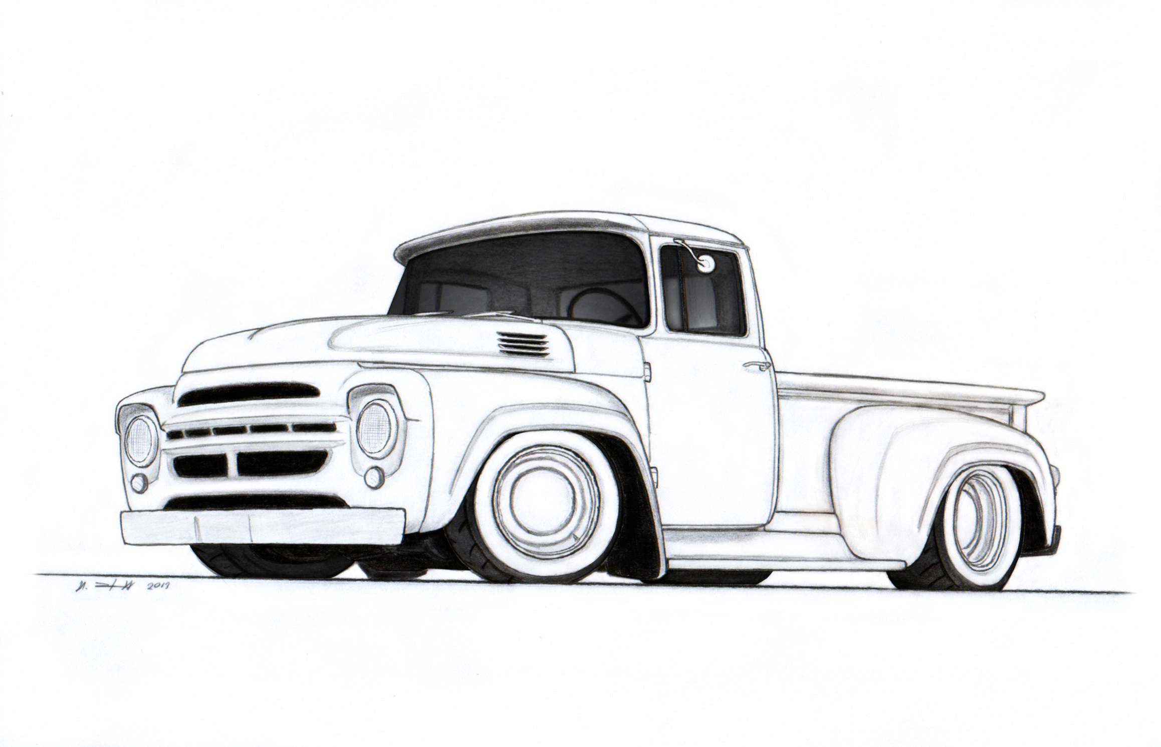 Uncategorized Drawing Trucks 1964 zil 130 stepside custom pickup truck drawing by vertualissimo vertualissimo