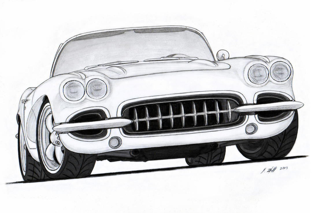 1962 Chevy Corvette Roadster Pro Touring Drawing By Vertualissimo On 1960 Dodge Pickup Wiring Diagram Free Download
