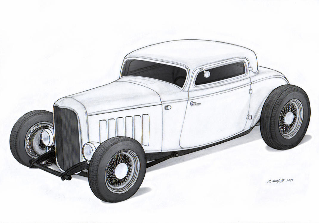 1932 Ford Three Window Coupe Hot Rod Drawing by Vertualissimo on ...