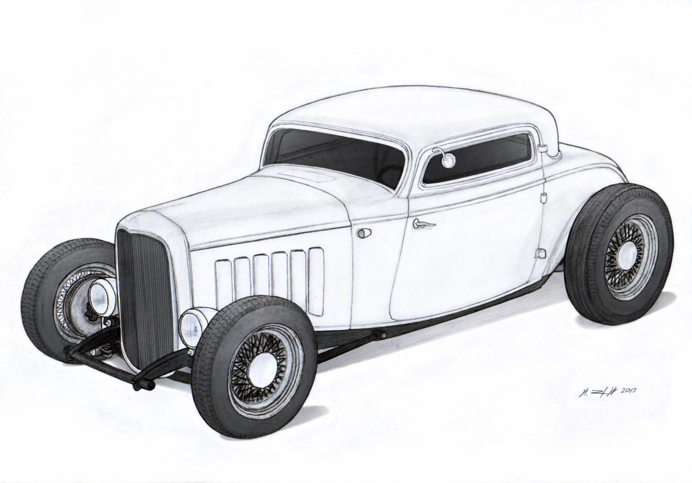 1932 Ford Three Window Coupe Hot Rod Drawing By