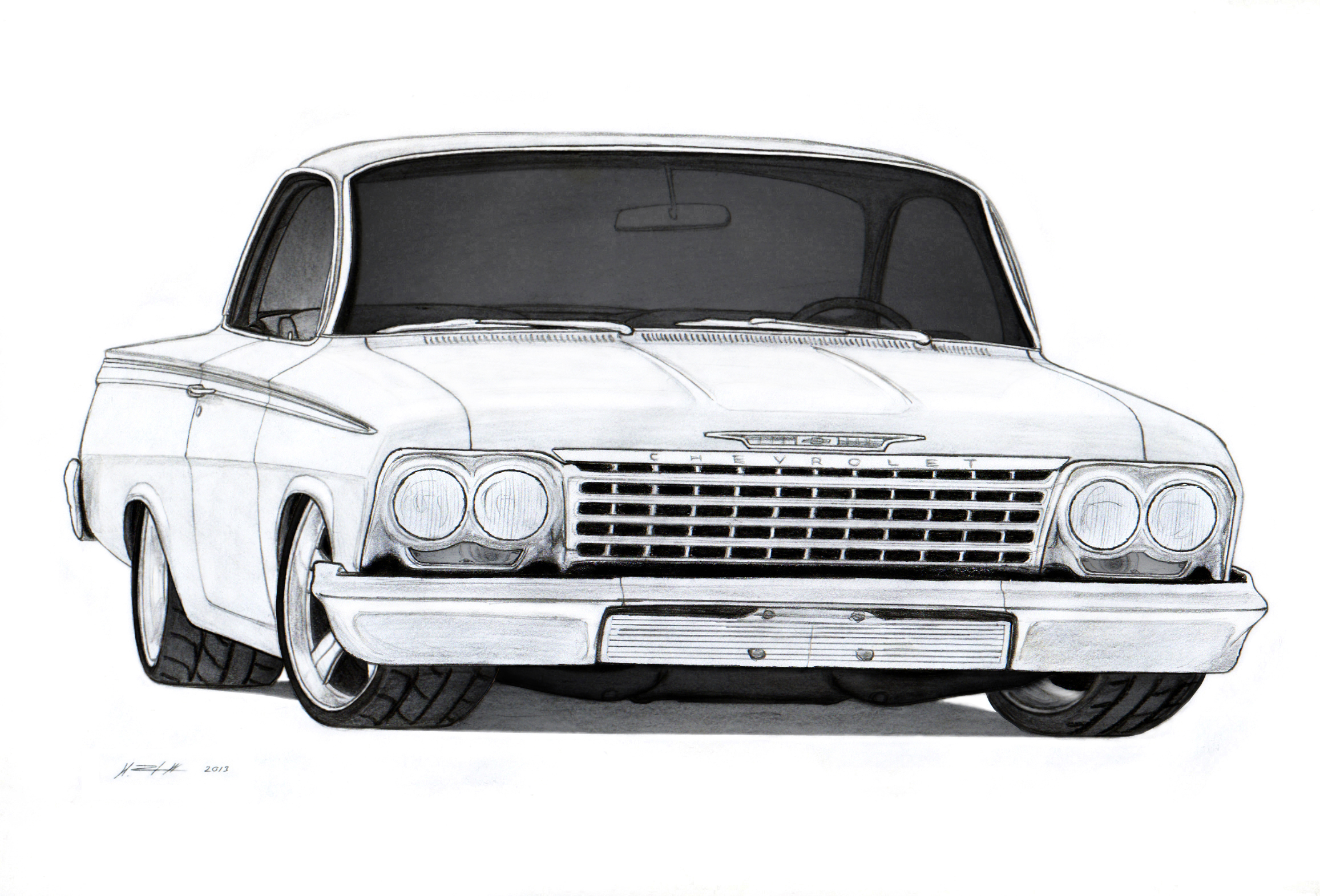 1962 Chevrolet Bel Air Sport Coupe Drawing By