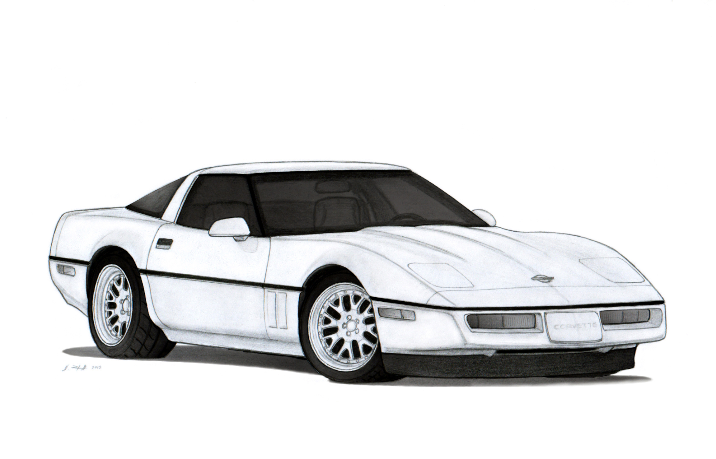 1990 Chevrolet Corvette Zr 1 C4 Drawing By Vertualissimo