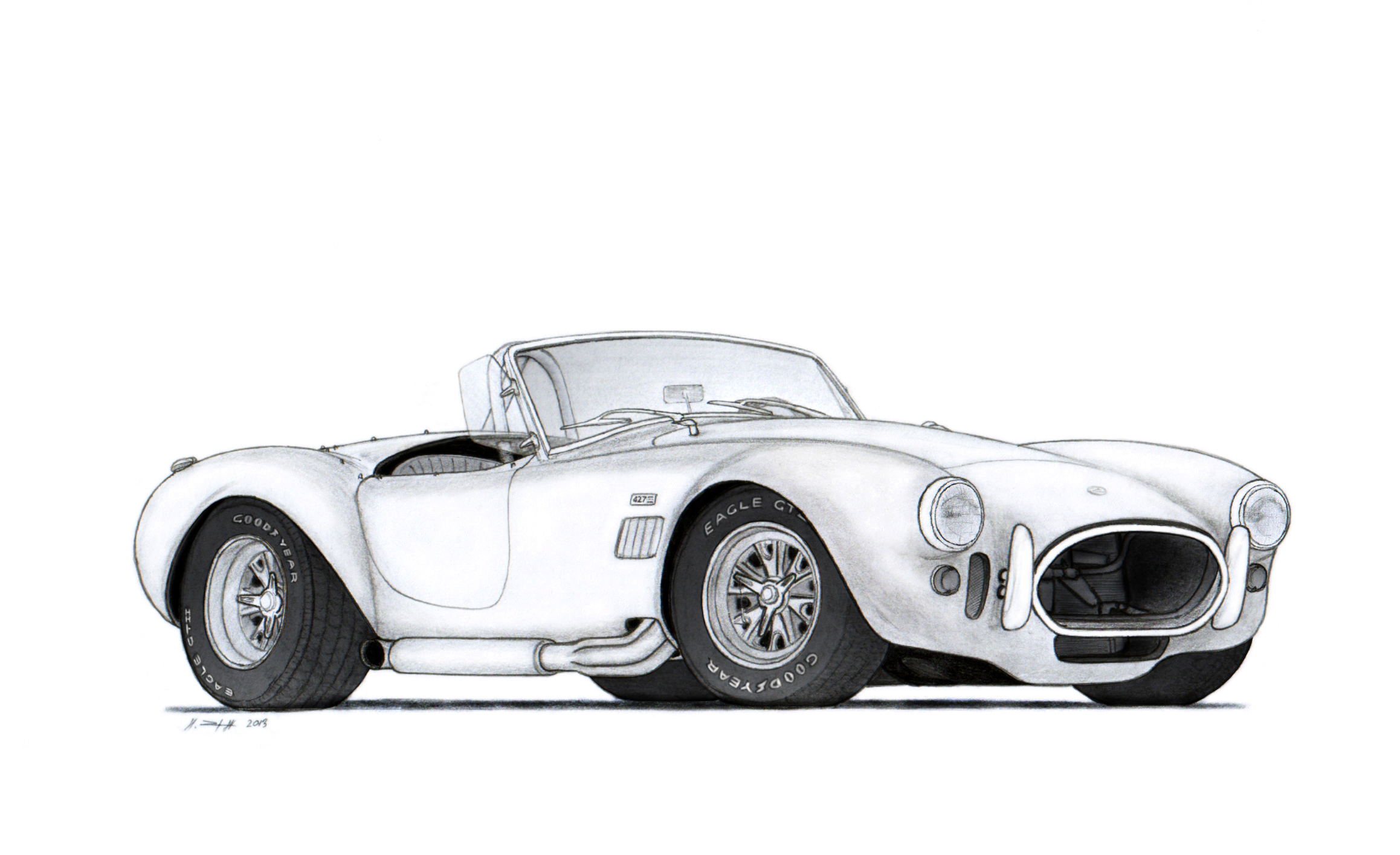 1966 Shelby Cobra 427 Drawing By Vertualissimo On Deviantart