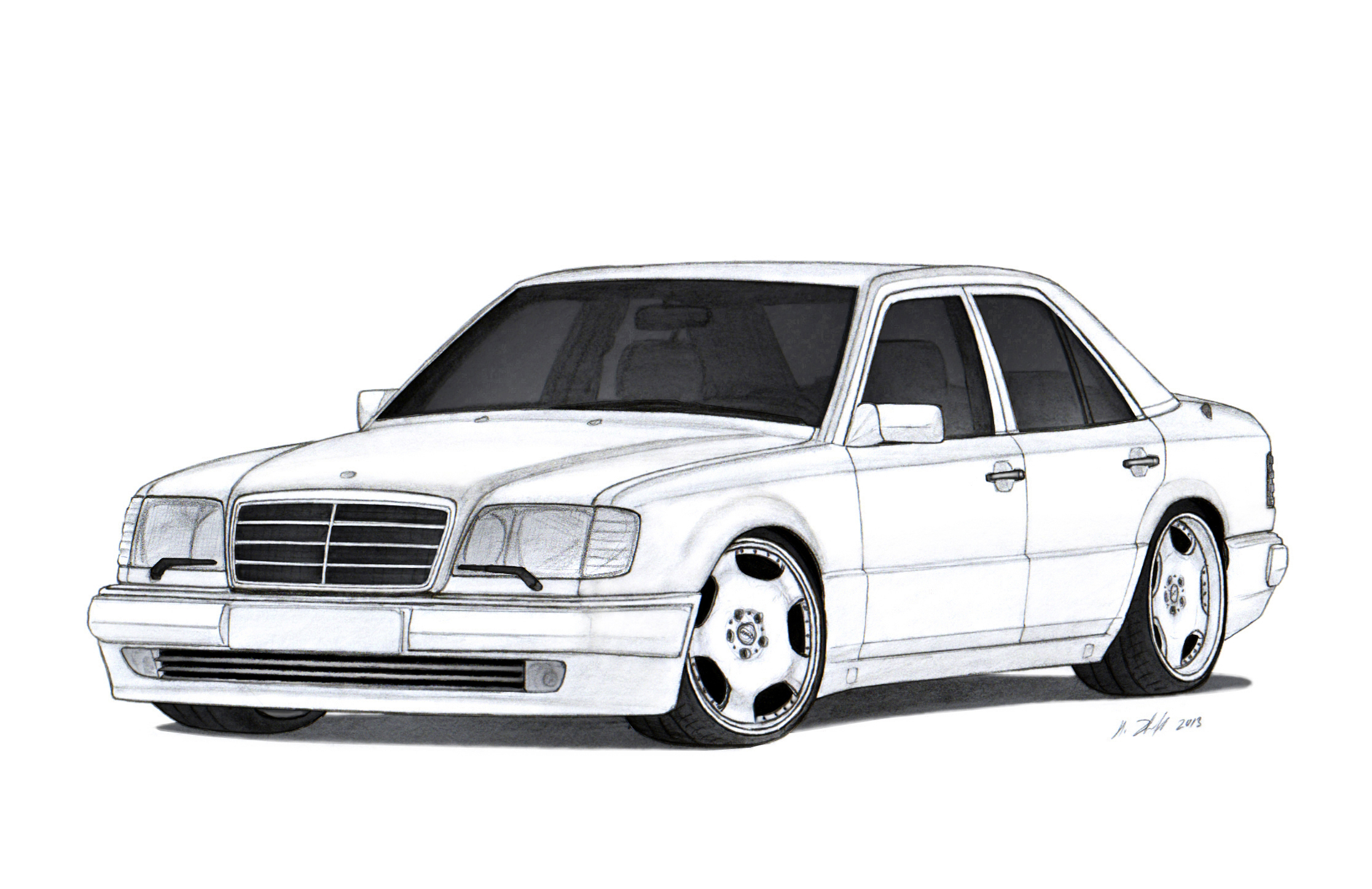 Mercedes benz 500e w124 drawing by vertualissimo on for Mercedes benz 500e