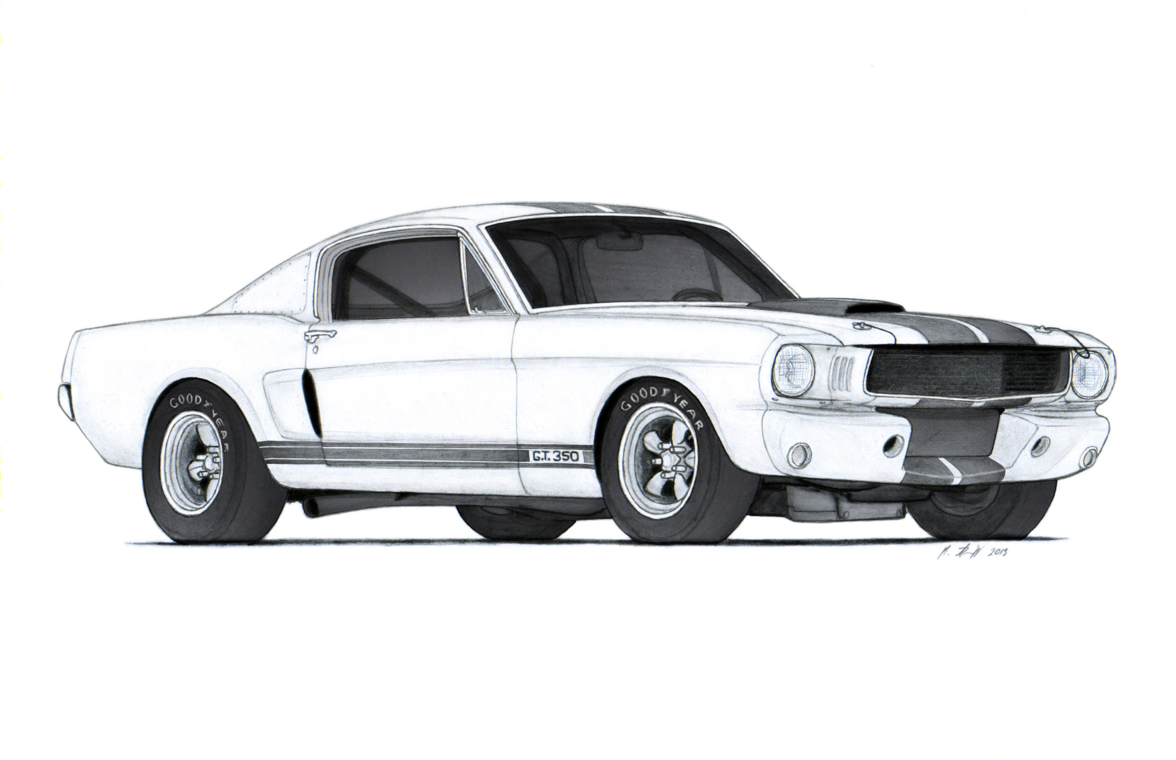 1966 ford mustang shelby gt350r drawing by vertualissimo. Black Bedroom Furniture Sets. Home Design Ideas