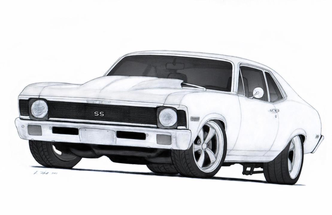 Chevy Charger 1972 Chevrolet Nova SS Pro Touring Drawing by ...