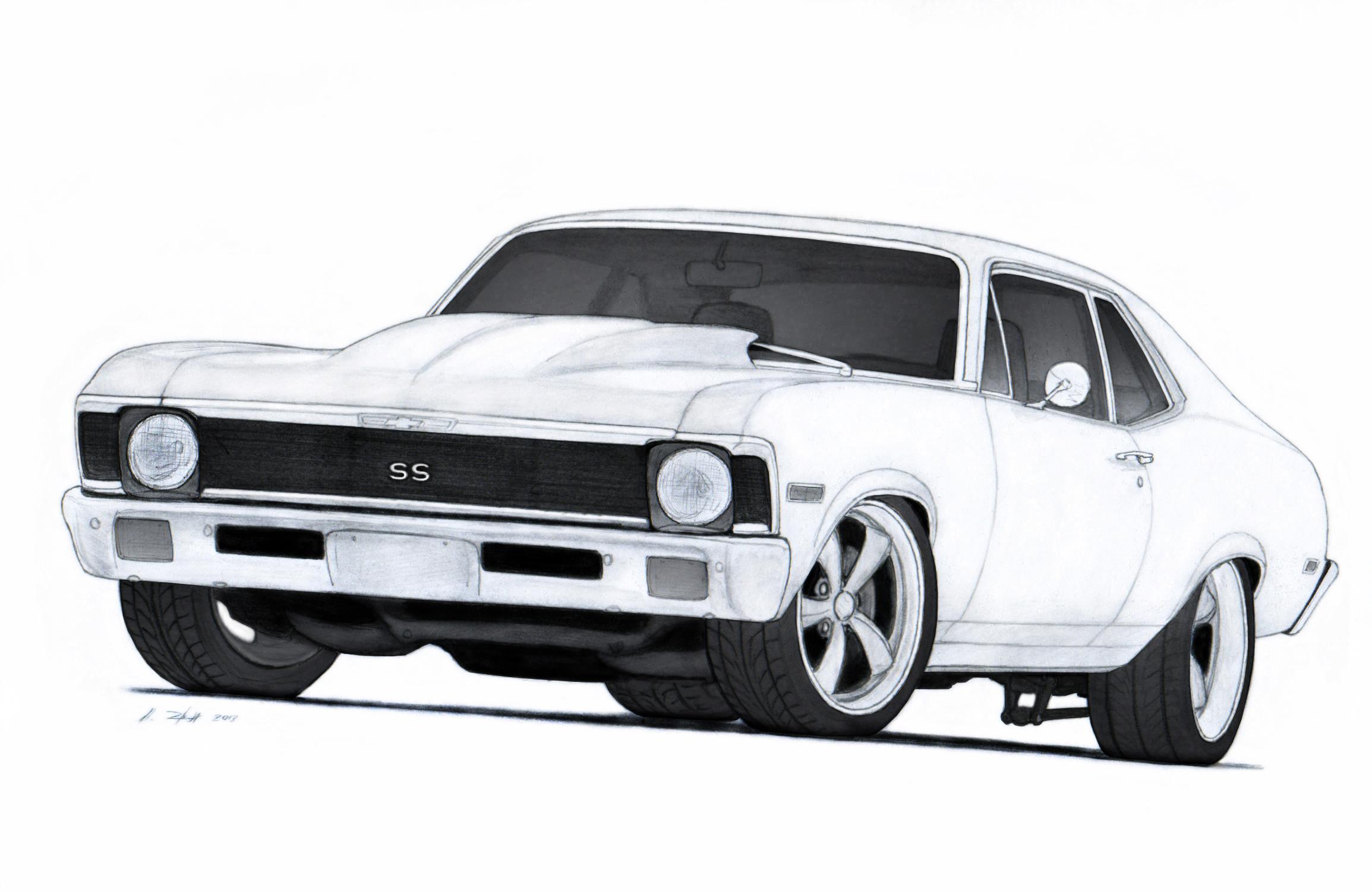 1972 Chevrolet Nova Ss Pro Touring Drawing By