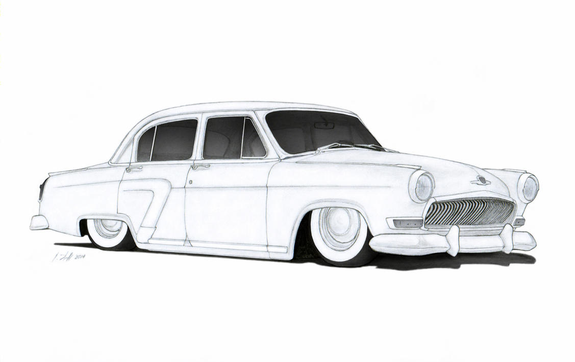 Gaz Volga Custom Sedan Hot Rod Drawing By Vertualissimo D Rm R