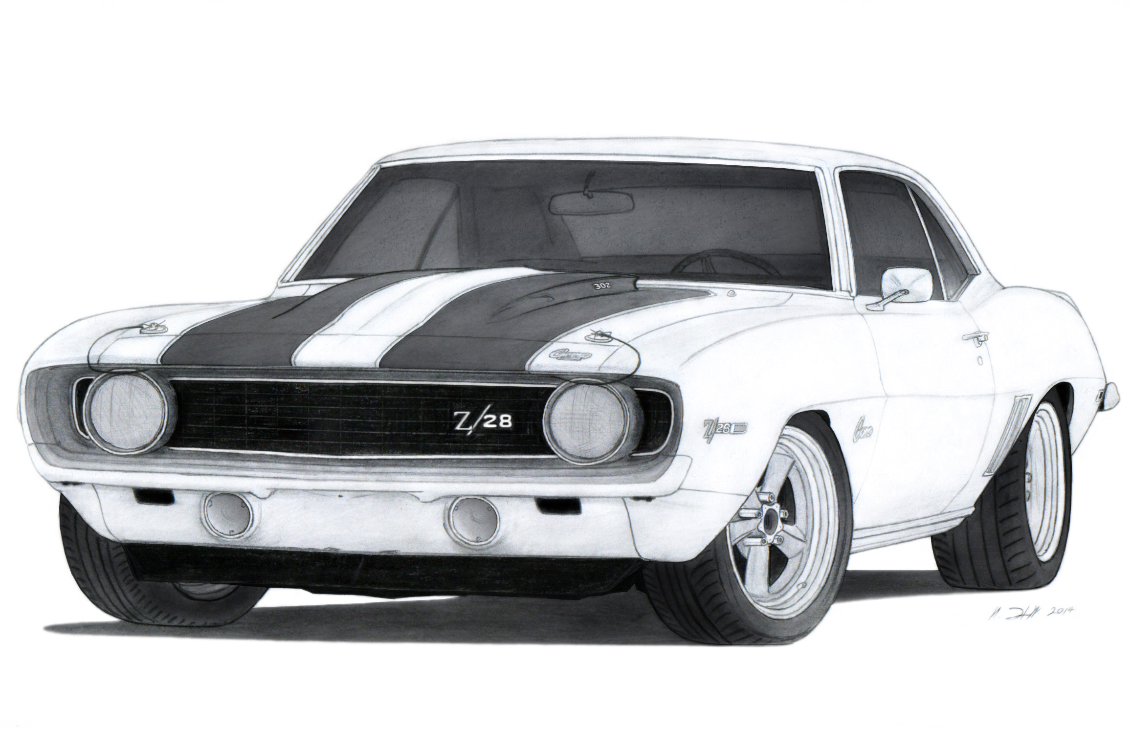 1969 Chevrolet Camaro Z 28 Drawing By Vertualissimo On