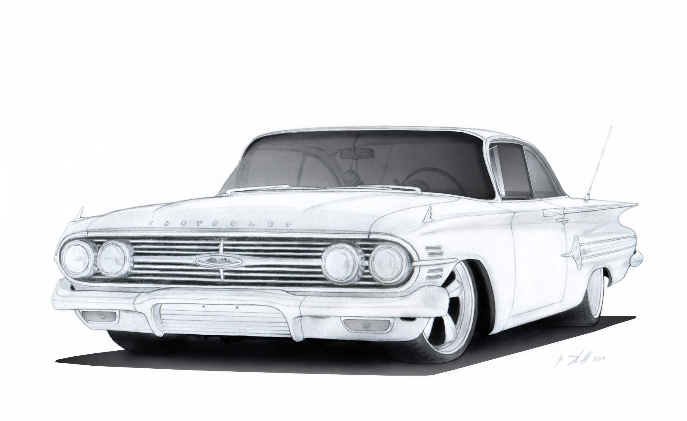 1960 Chevrolet Impala Pro Touring Drawing By Vertualissimo On Deviantart