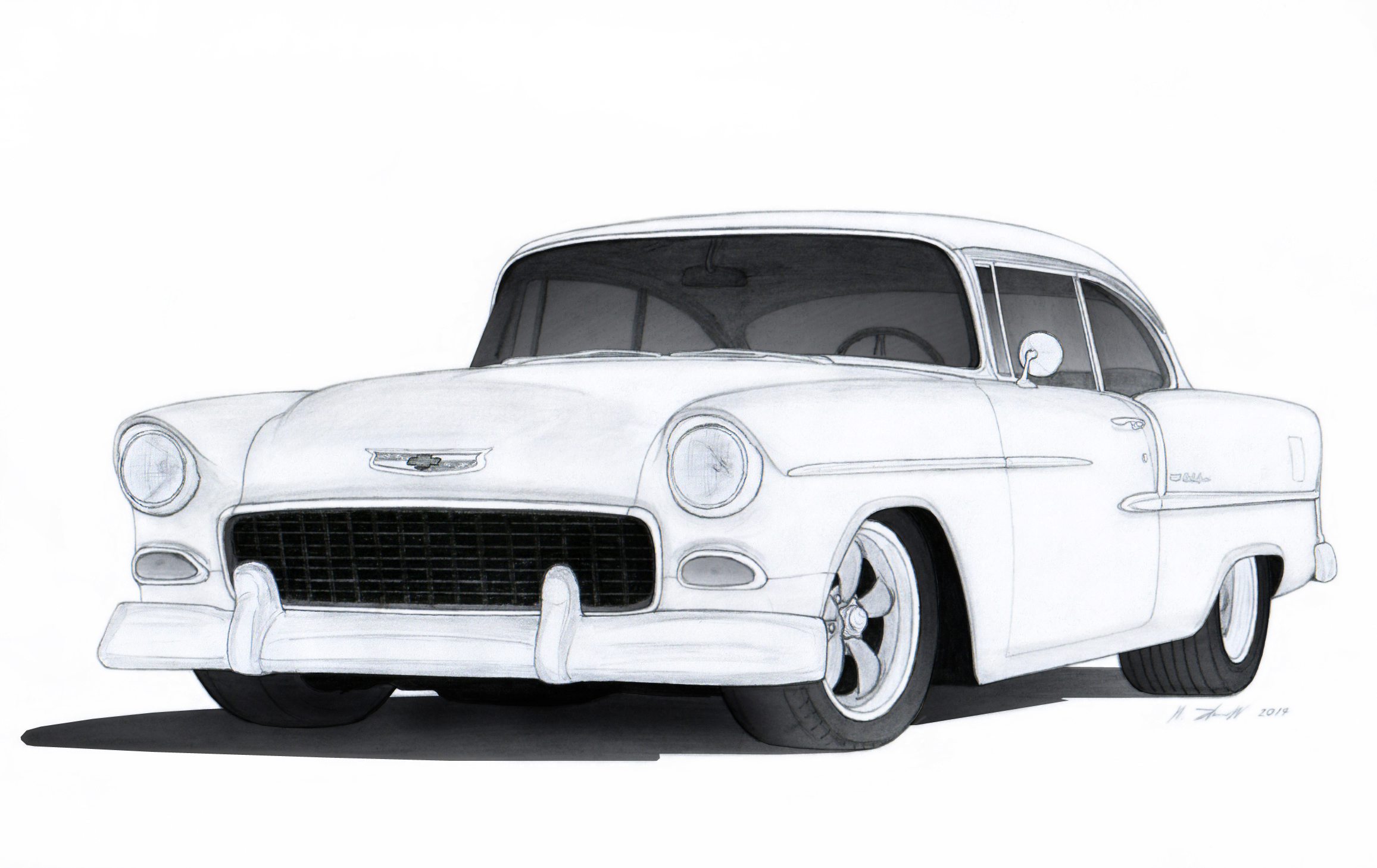 1955 Chevrolet Bel Air Drawing by Vertualissimo on DeviantArt